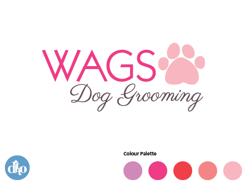 WAGS Dog Grooming Logo Design,