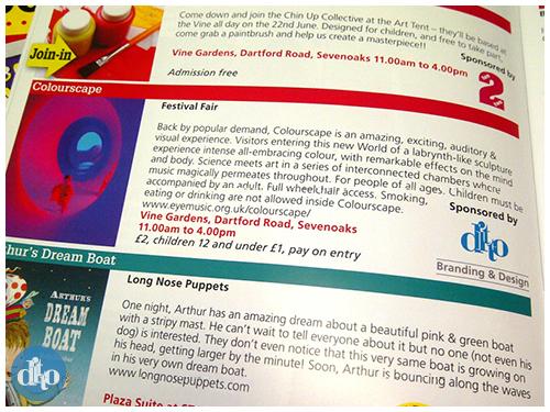 Sevenoaks summer festival, programme, design, ditto, creative