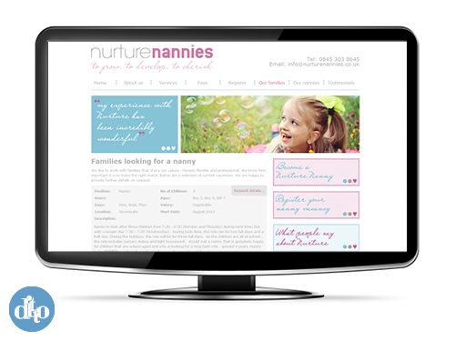 Nurture Nannies website - web design sevenoaks 1