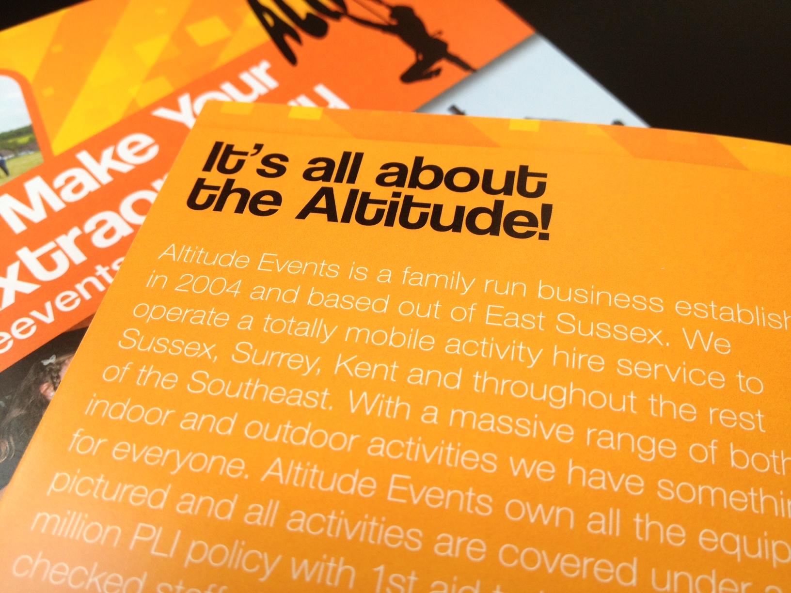 Altitude Events brochure design, Ditto, Sevenoaks