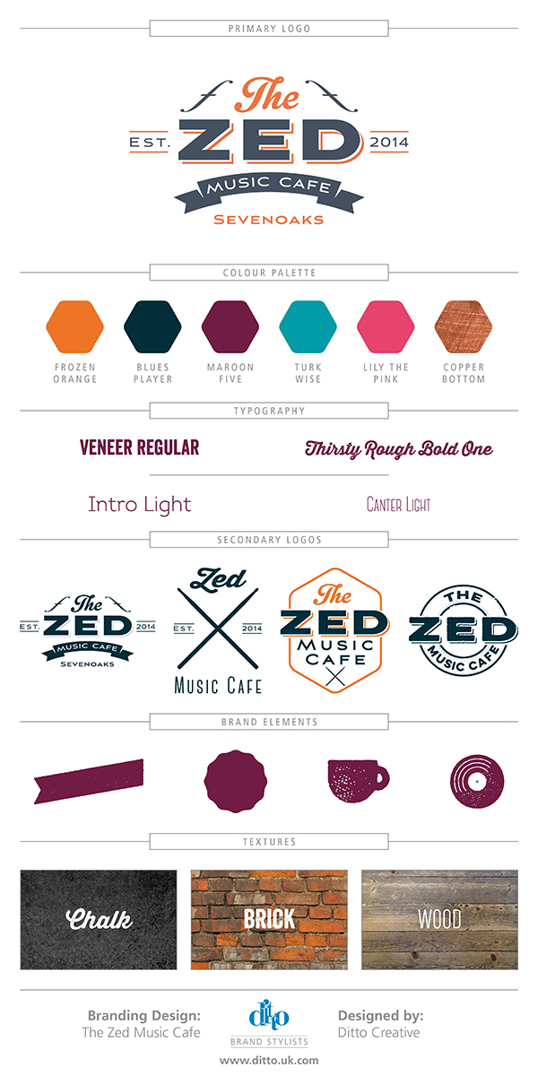 The Zed Music Cafe Sevenoaks, Kent - brand styling & logo design branding board