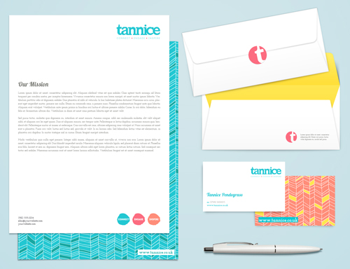 Tannice - stationery suite. Brand identity, logo design and brand styling by Ditto Creative, Kent