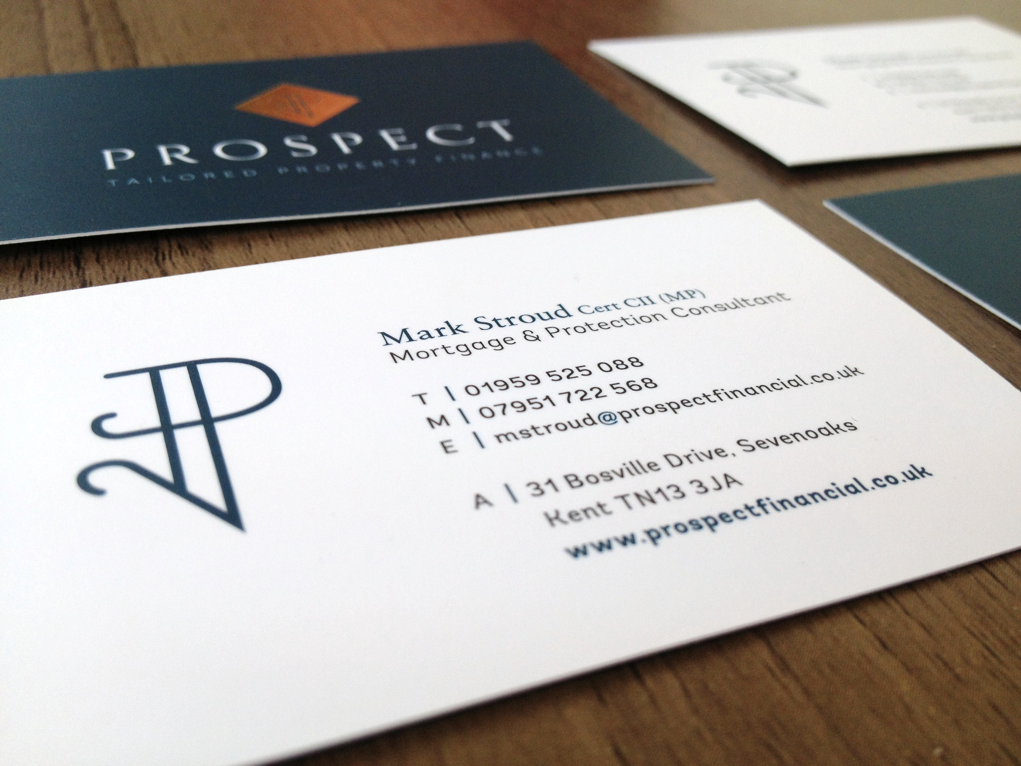 Prospect Financial, Sevenoaks, Logo design and brand identity - business card design