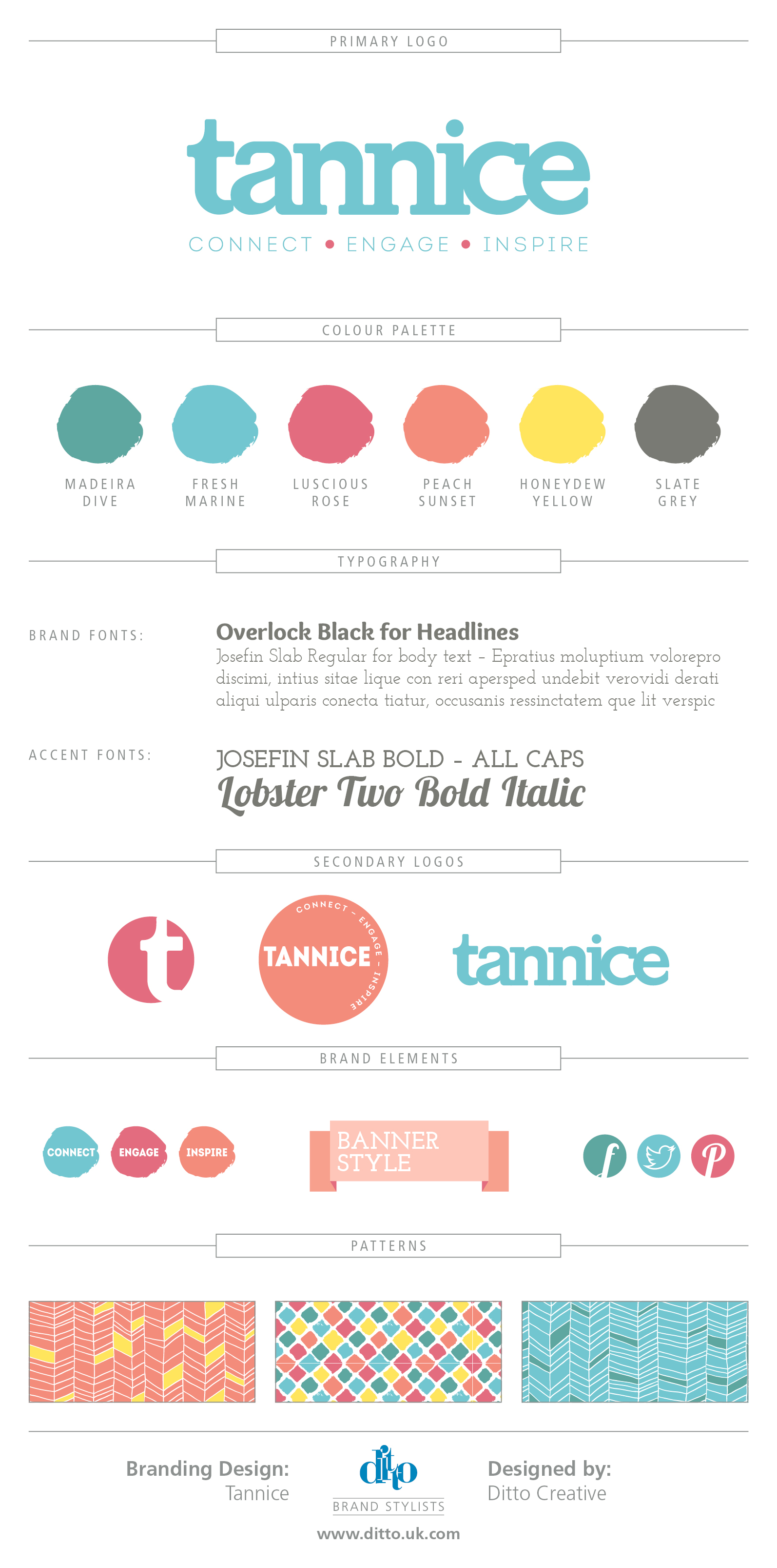 Tannice - Brand Board. Brand identity, logo design and brand styling by Ditto Creative, Kent