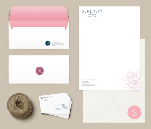 Brand styling for Serenity Therapies, Tunbridge Wells