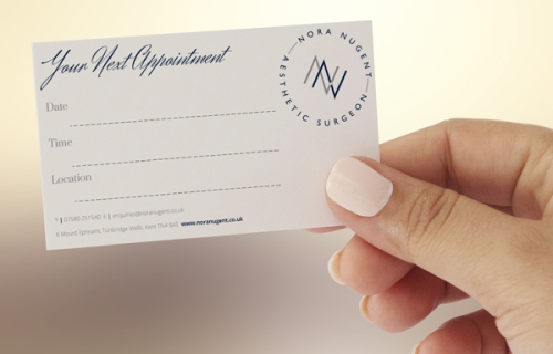 Nora Nugent appointment card design by Ditto brand stylists
