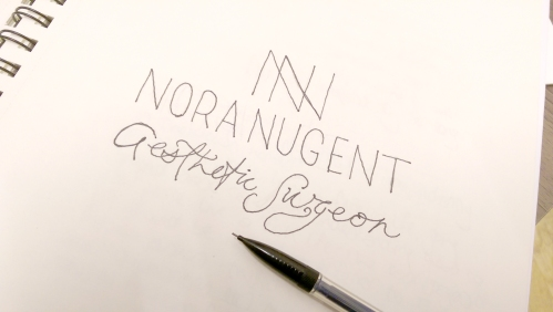 Nora Nugent Plastic surgeon logo sketch by Ditto Brand stylists