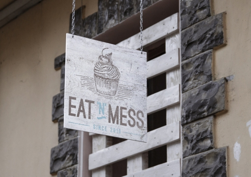 Eat N Mess outdoor sign by Ditto Creative Brand Stylists